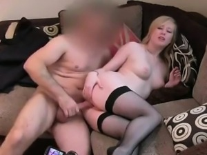 British blonde in stockings fucking on casting