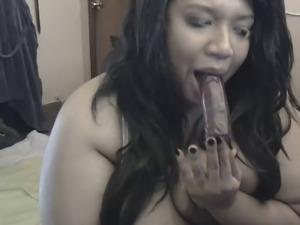Cute BBW fucks face with dildo - Nasty!