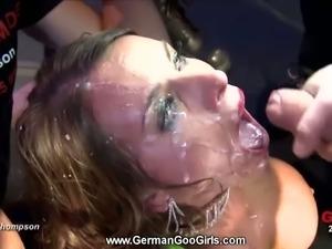 German brunette gets gangbanged and bukkaked