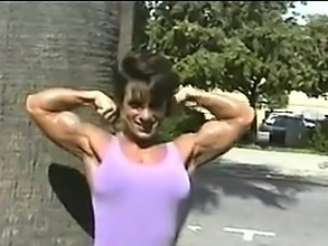 Bodybuilder Flexing Outside
