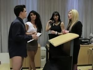 Clothed hottie gets humiliation cum facial