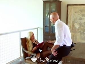 PureMature Blond MILF fucks in black lingerie