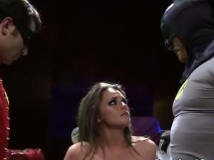 Facialized babe in superhero threeway