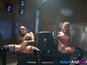 Busty vamps ride cock and suck dick in kinky dark group fuck