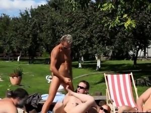 Bisexual studs cum everywhere at orgy