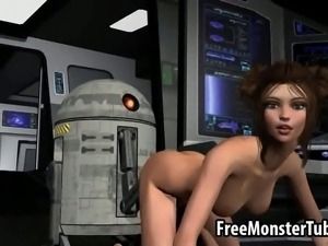 Jaw dropping 3D cartoon Princess Leia getting her soaking wet pussy toyed...