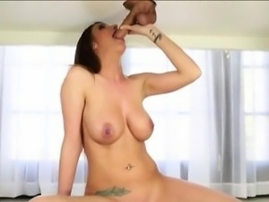 Huge boobs whore Brooklyn Chase gives head and cum facialed