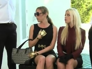 Britney  And Samantha Inhale Two Slave Cocks