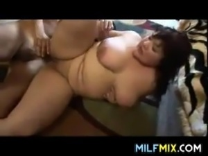 Large horny Asian mother sucking and getting banged