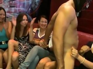 Beautiful girls engulfing ribald dick of strip dancer