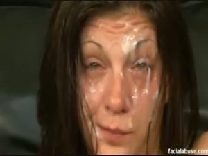 Brunette slut gets pounded and facialized