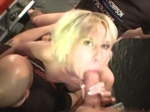 Nasty bukkake showering cum all over her face
