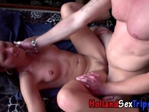 Euro hooker fucked and cummed on by tourist for money