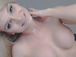 Busty Blonde Tranny Jerking her Dick