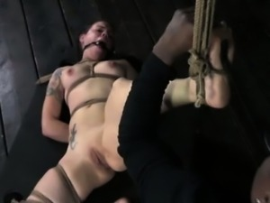 Restrained bitch getting tit flogged