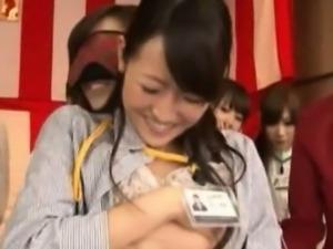 Japenese office cuties get breasts fondled
