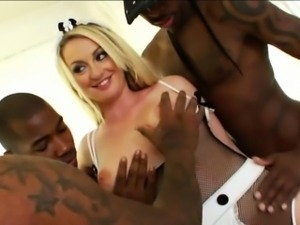 Aline enjoys a nasty anal gangbang with massive ebony dicks