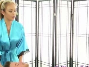 Gorgeous masseuse blonde strokes cock