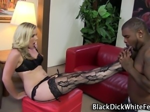 White feet in stockings get worshipped by black stud