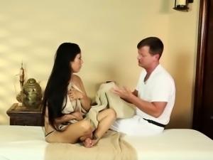 Busty asian Gaias topless trick massage