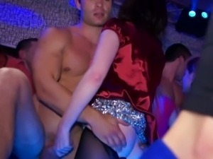 Eastern European babes attend sex party at a club