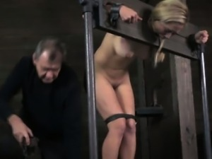 Stocked submissive being flagellated