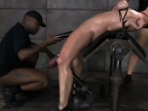 Redhead sub tied up and ravaged by maledom