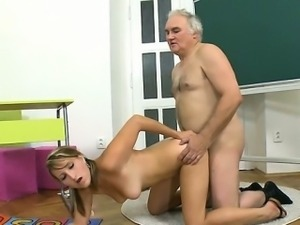 Beauteous babe is hungry for teacher\'s wang