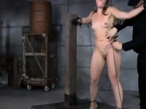 Gagged sub punished all over with pegs