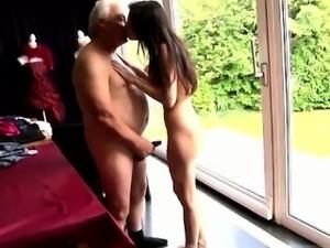 Horny senior Bruce spots a ultra-cute lady sitting behind a
