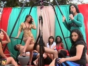Crazy amateur girls enjoying a sex furniture show outside