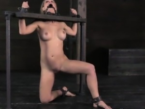 Mouth hooked skank being stocked and punished