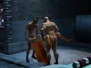 3D Supergirl getting double teamed in an alley