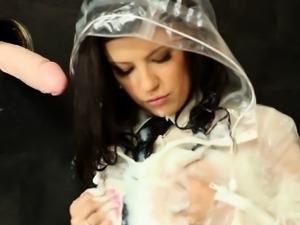 Melisa masturbating in a bukake puddle