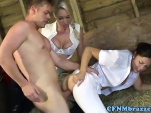 Femdom pornstars sharing his cum