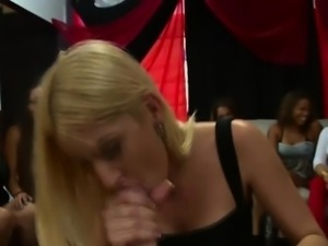 Clothed hussy facilaized at real party