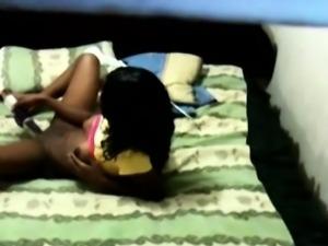 Gorgeous ebony teen Cristina gets spied while masturbating