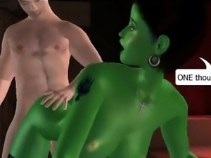 Sexy 3D cartoon green alien babe getting fucked hard
