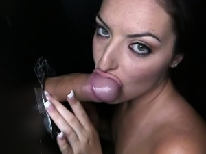 Cum swallowing Nikki Lavay at glory hole