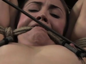 Tied up submissive babe caned harshly