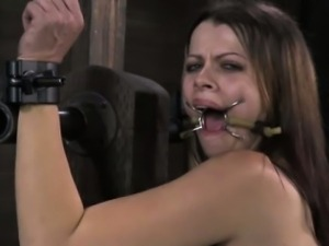 Bonded submissive skank gets punish