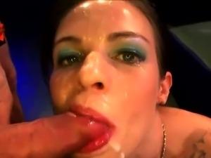 Heavily tattooed whore in hard banging and bukkake