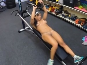 Muscular babe twat fucked by pervert guy in the store