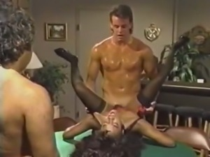 Ebony babe gets banged by two horny dudes