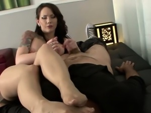 Foot worshipped busty babe tugs