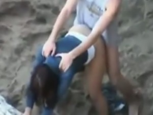 Ex-girlfriend gets pounded on the beach