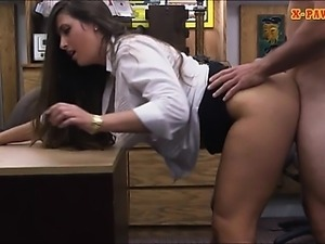 Amateur chick pounded by pawnshop keeper inside the office