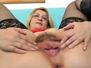 Czech madam with glasses toying herself