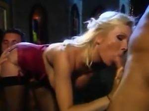 Blonde Bitch In A Threesome