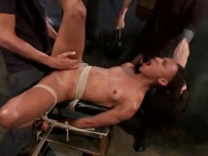 Ebony slave gets double cunt fucked by her masters
